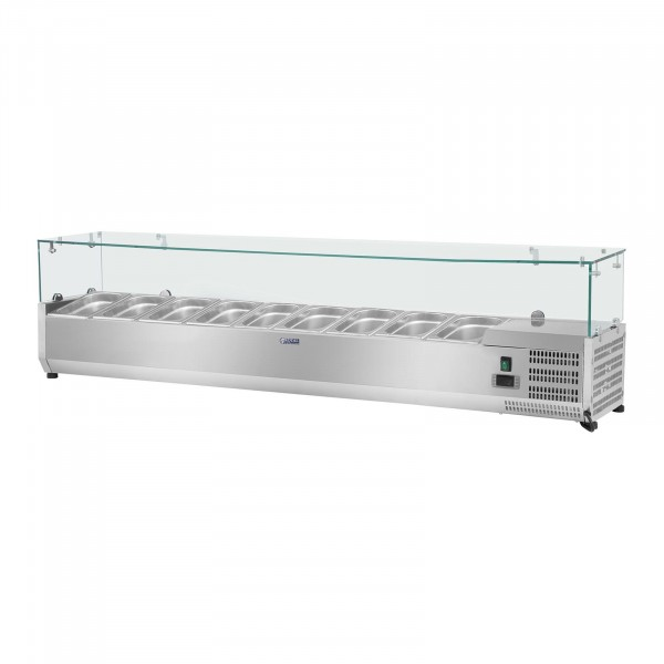 Hűtővitrin - 200 x 39 cm - 9 darab 1/3 GN edény- Üvegborítás