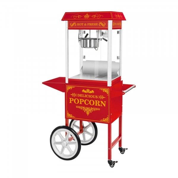 Popcorn gép kocsival - retro design - piros