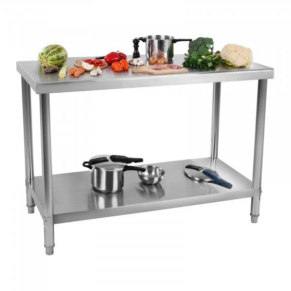 B-termék Rozsdamentes acél asztal - 120 x 60 cm - 110 kg-os teherbírás