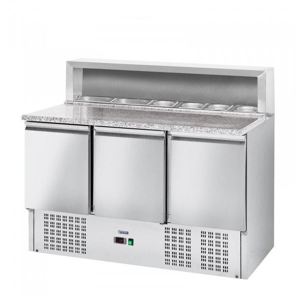 Pizza előkészítő hűtőtt munkaasztal - 379 l- gránit munkalap - 3 ajtós