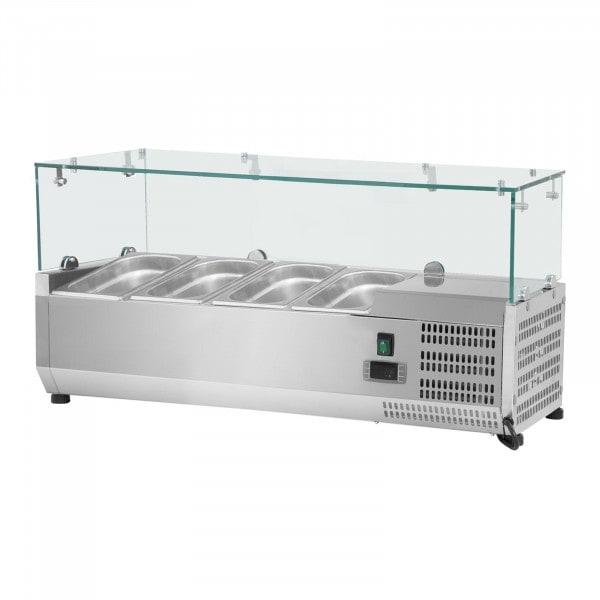 Hűtővitrin - 120 x 39 cm - 4 darab 1/3 GN edény- Üvegborítás