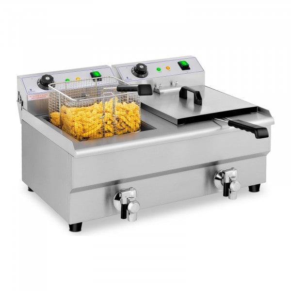 B-termék Vendéglátóipari fritőz - 2 x 13 liter - leeresztő csapok - 230 V