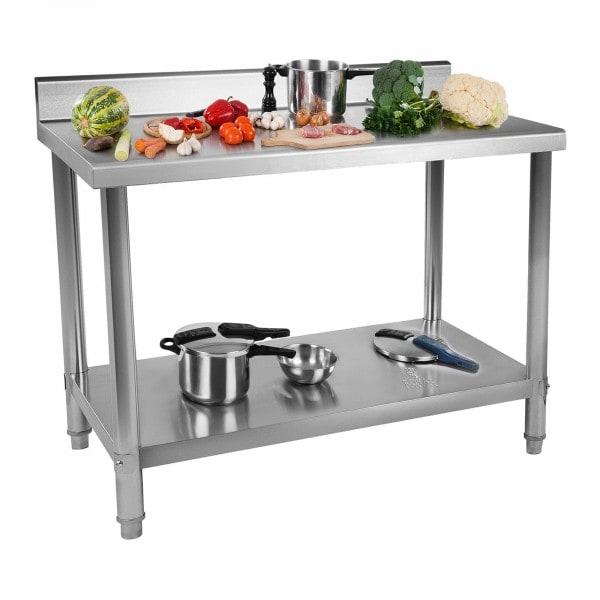 B-termék Rozsdamentes acél asztal - 120 x 60 cm - karima - 137 kg-os teherbírás