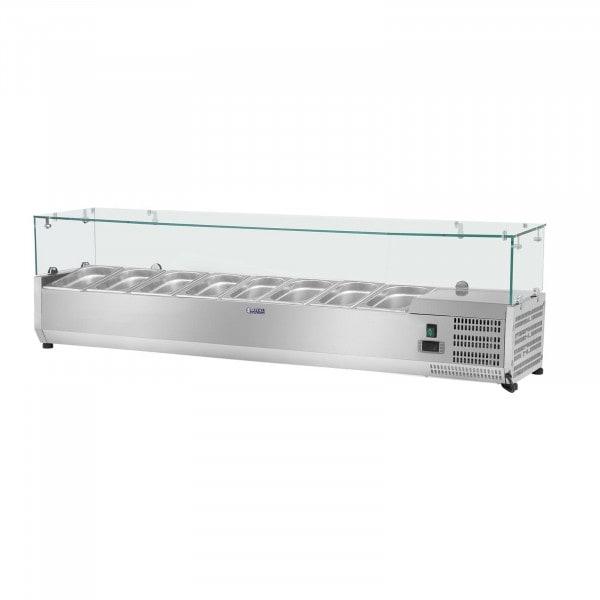 Hűtővitrin - 180 x 39 cm - 8 darab 1/3 GN edény- Üvegborítás