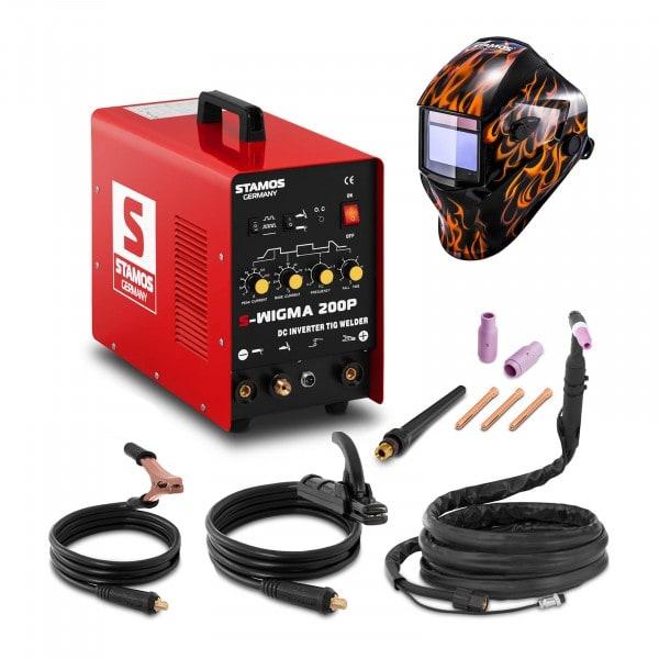 Hegesztő készlet TIG hegesztő - 200 A - 230 V - impulzus + Hegesztő sisak - Firestarter 500 - ADVANCED SERIES