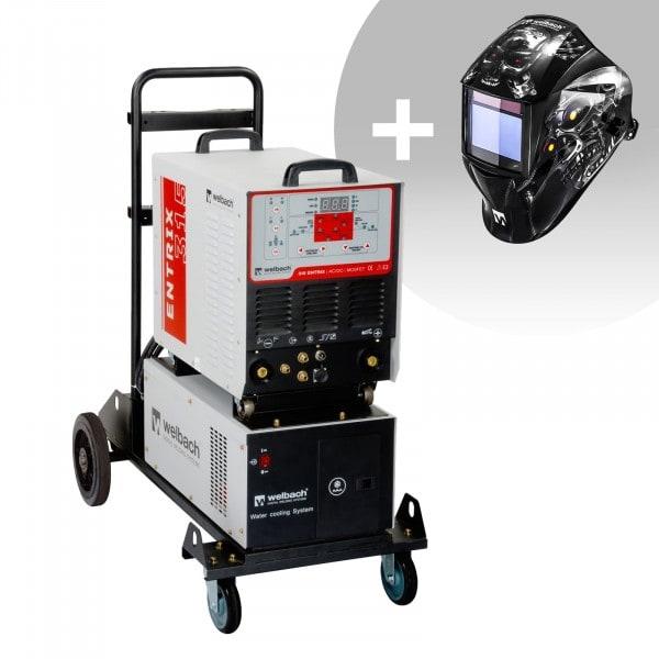Hegesztő készlet: Alumínium hegesztő - 315 A - 400 V - Puls - vízhűtéses és Hegesztő sisak - Metalator