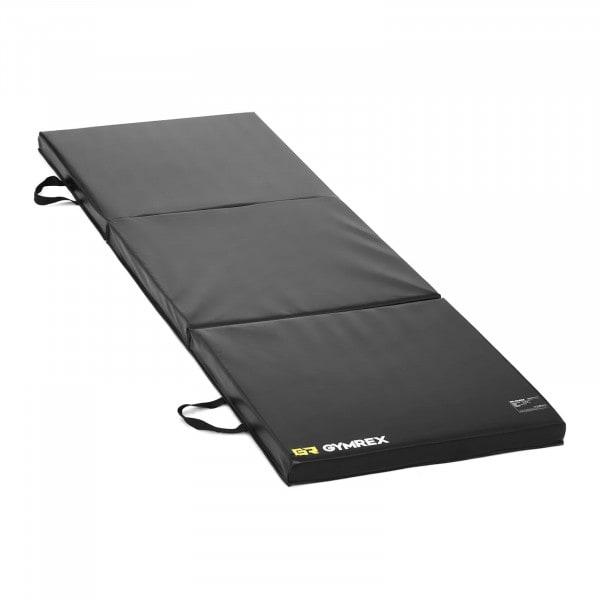 B-termék Hordozható fitnesz matrac - 180 x 60 x 5 cm - összehajtható - fekete