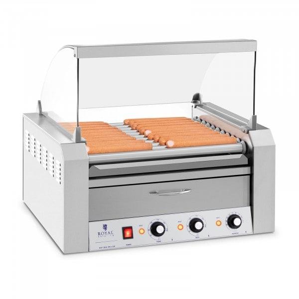 Hot Dog Grill - 11 görgő - Hőfiók - Rozsdamentes acél