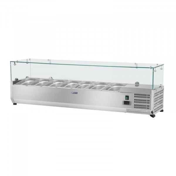 Hűtővitrin - 150 x 33 cm - 7 darab 1/4 GN edény- üvegborítás