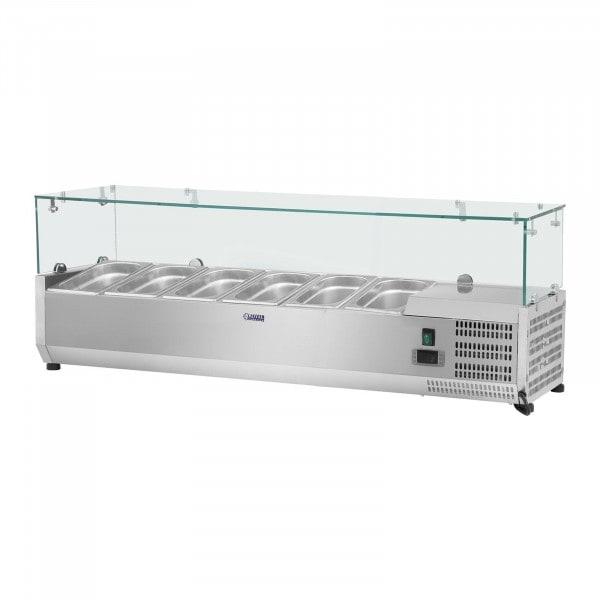 Hűtővitrin - 150 x 39 cm - 6 darab 1/3 GN edény- Üvegborítás