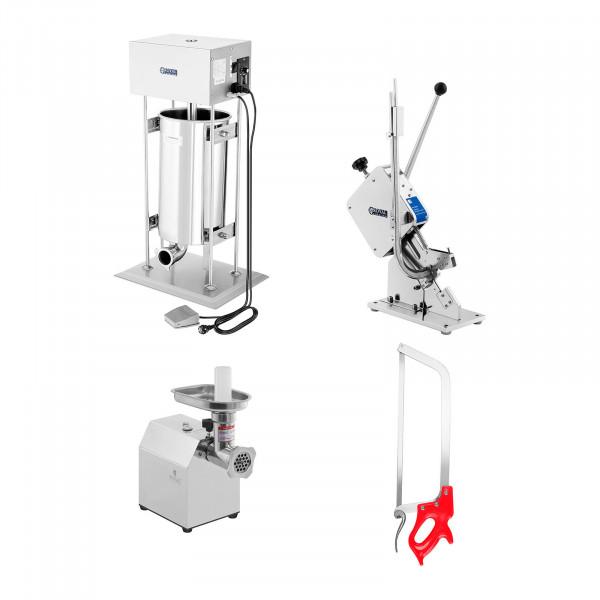 Kolbásztöltő, daráló, kolbászvágó és csontfűrész készlet - 15 l - 70 kg / h