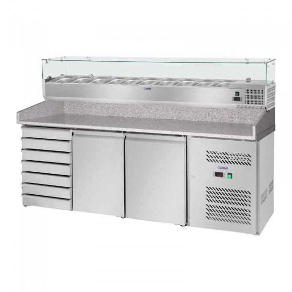 B-termék Pizza előkészítő hűtőtt munkaasztal hűtővitrinnel- 702 l- gránit munkalap - 2 ajtós