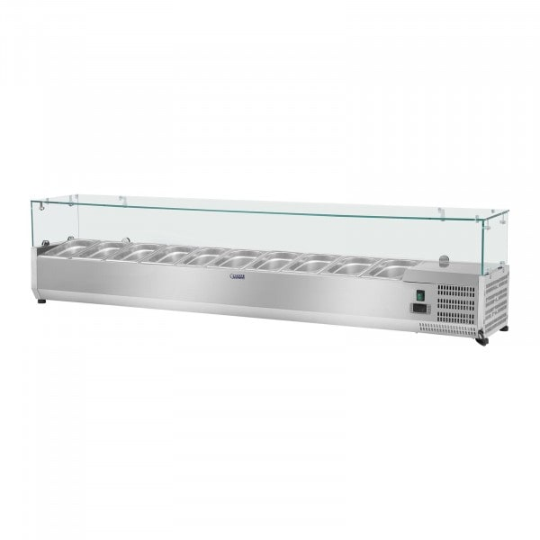 Hűtővitrin - 200 x 33 cm - 10 darab 1/4 GN edény- üvegborítás