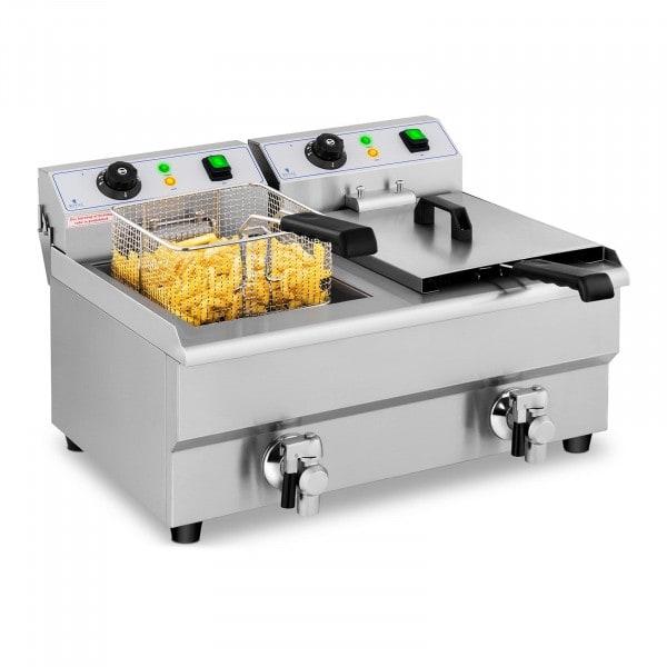 B-termék Vendéglátóipari fritőz - 2 x 10 liter - leeresztő csapok - 230 V