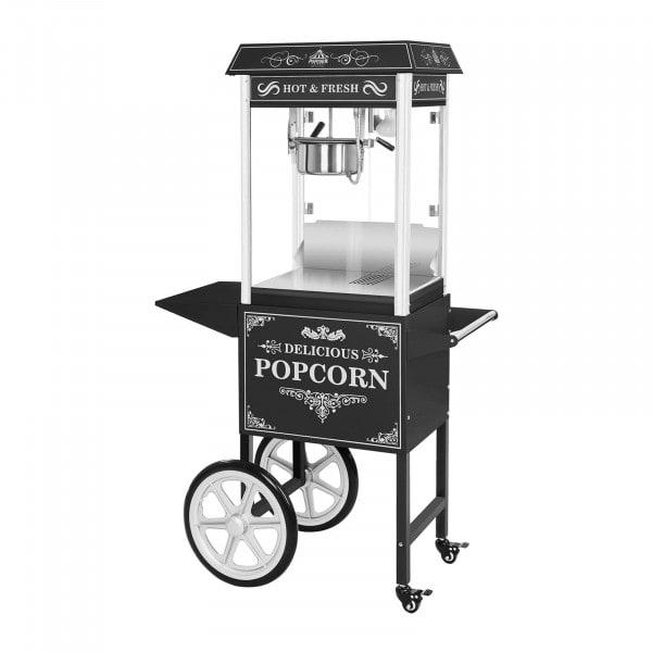 Popcorn gép kocsival - retro design - fekete