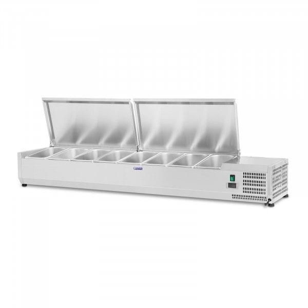 B-termék Hűtővitrin - 160 x 33 cm - 8 darab 1/4 GN edény