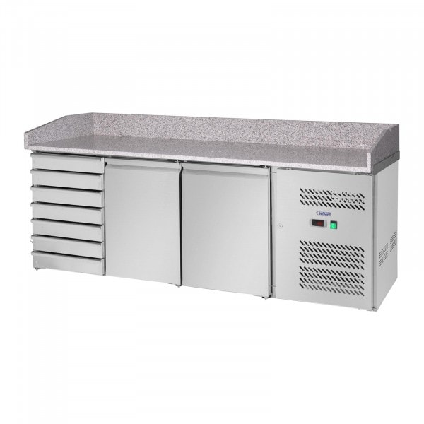Hűtőpult - 580 l- gránit munkalap - 2 ajtós