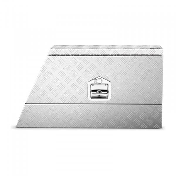 B-termék Alumínium box - bordázott lemez - 75 x 25 x 40 cm - 75 L - zárható - ferde
