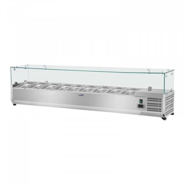 Hűtővitrin - 180 x 33 cm - 9 darab 1/4 GN edény- üvegborítás