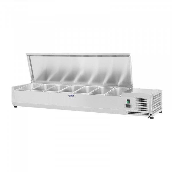 Hűtővitrin - 150 x 33 cm - 7 darab 1/4 GN edény