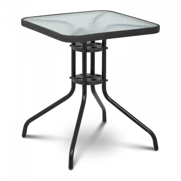B-termék Kerti asztal - 60 x 60 cm - üveglap - fekete